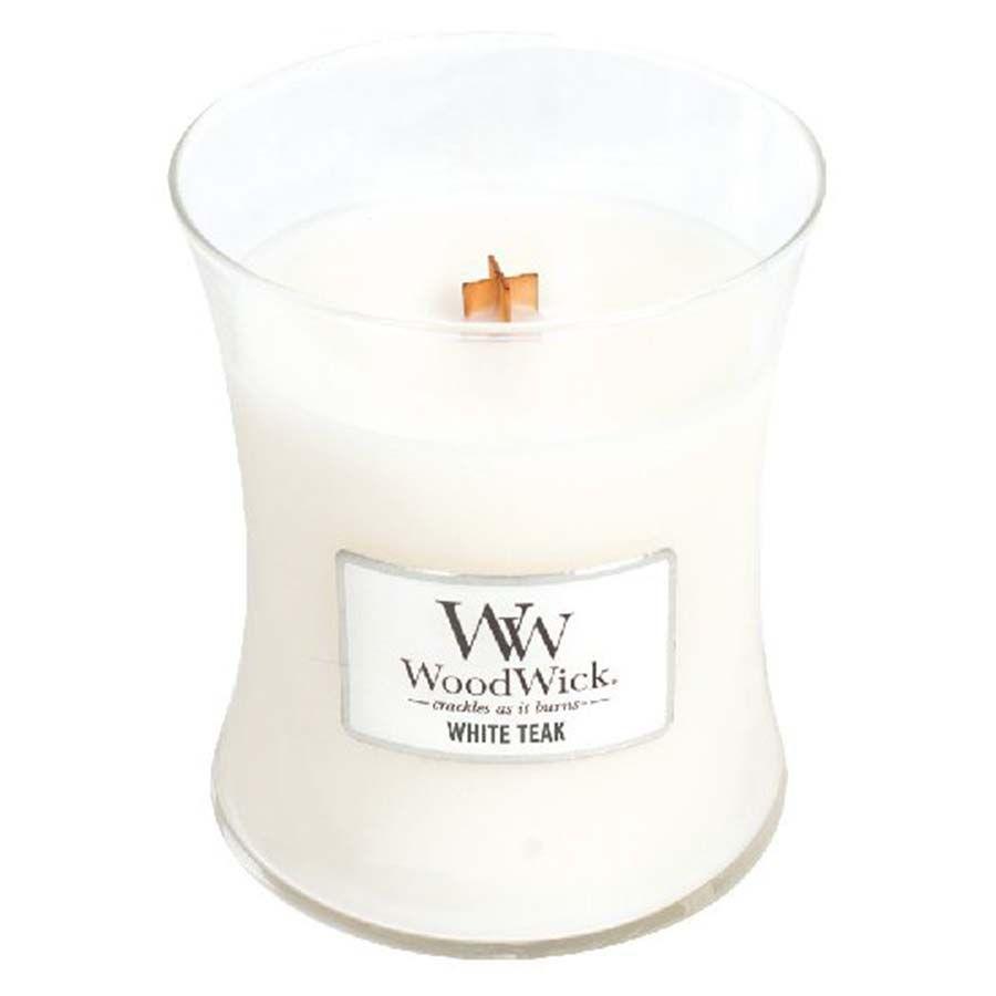 Woodwick White Teak svíčka váza střední