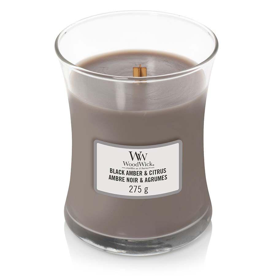 Woodwick WoodWick Black Amber & Citrus svíčka váza střední