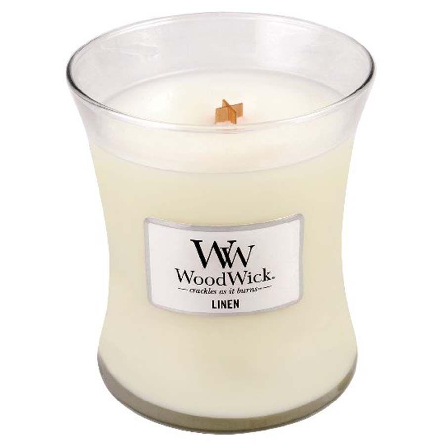 Woodwick Linen svíčka váza střední