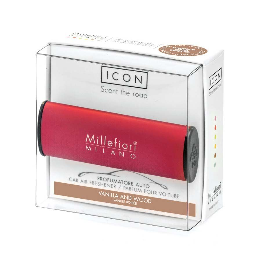 Millefiori Millefiori Icon Vanilla & Wood vůně do auta Classic červená